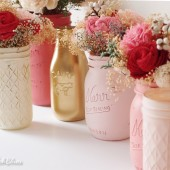 Quilted Painted Mason Jars