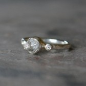 Raw Natural Diamond Engagement Ring Handmade in SterlingSilver with Diamond Accents