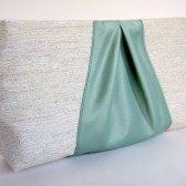 Custom Bridesmaids Clutch / Vintage or Rustic Wedding / Raw Silk & Satin Ribbon