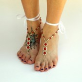 pearl-foot-jewelry, barefoot-jewelry, barefoot-sandals, beach-wedding-shoes, red, bride-sandals, wedding-sandals, wedding-footwear
