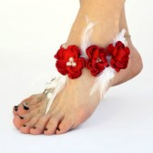 red-roses, barefoot-sandals, brides-beach-footwear, feathers, pearls, hemp, bridesmaid, beach-ceremony