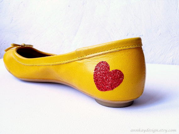 red glitter heart shoe stickers