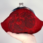 Red peacock embroidery henna clutch