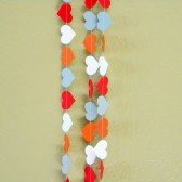 Red Dark Orange White Gray Party Decoration Paper Heart Garland Birthday Party, Photo Prop, Nursery, Baby or Bridal Shower 10 feet