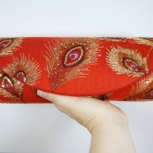 Red silk embroidered lace peacock clutch
