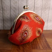Large red peacock clutch