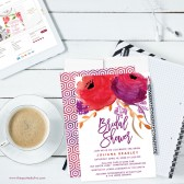 Red & Purple Watercolor Floral Bridal Shower Invitatiaons