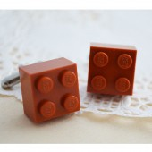 Red Brown Lego Cufflinks