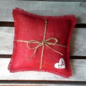 Red Burlap Ring Bearer Pillow