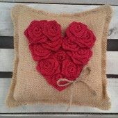 Red Burlap Rosette Heart Ring Bearer Pillow