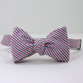 Red, White and Blue Seersucker Bow Tie