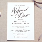 Rehearsal Dinner Invitation Black & White Classic