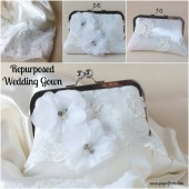 Repurposed wedding gown clutch