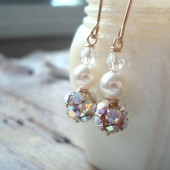 Rhinestone, Pearl and Crystal Earrings