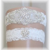 Couture Rhinestone and Pearl Wedding Garter Set, Bridal Garter Set, Light Ivory Lace