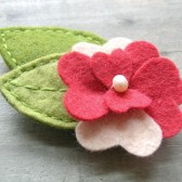 Felt Red Flower Barrette with Leaves