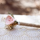 Flower Girl Flower Wand -Romantic Collection, Pink Mint Ivory, Mini Bouquet, Toss Bouquet, Junior Bridesmaid, Sola Flowers, Rustic Wedding