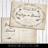 Romantic Laurels Rustic Save the Date