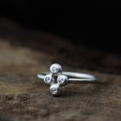 rose cut white diamond silver ring