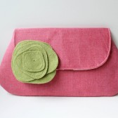 Clutch Purse and Flower Brooch, Pink and Gray, Bridesmaid Bag