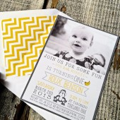Photo Baby Birthday Card Invitation : Whimsical and Rustic Gray and Yellow Baby Invitation