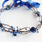 Royal Blue Bridal Crown, Something Blue Halo, Woodland Rose Crown