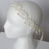 Emily Headband, Bridal, Headband, Hair, Accessories, Ivory, Lace, Pearl, Beads