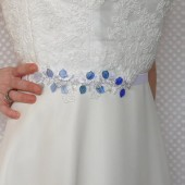Elsa Sash, Bridal, Sash, Belt, Lace, White, Blue, Beads