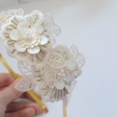 Anna Headband, Bridal, Headband, Wedding, Hair, Accessories, Gold, Champagne, Flower, Lace, Beads