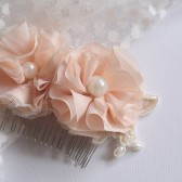 Elle Hair Comb, Bridal, Hair, Comb, Wedding, Hair, Accessories, Pink, Blush, Flower, Chiffon, Pearls, Lace