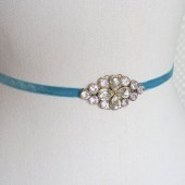 Ava Sash, Bridal, Wedding, Belt, Sash, Headband, Vintage, Velvet, Blue, Teal, Crystal, Diamante