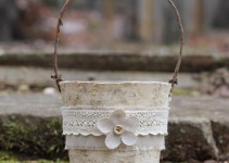 rustic birch flower girl basket