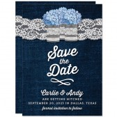 Rustic Denim & Lace Save The Dates by The Spotted Olive