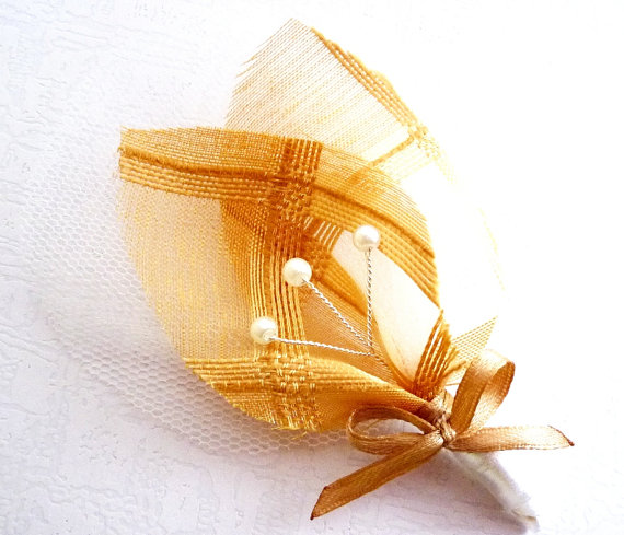 rustic gold boutonniere