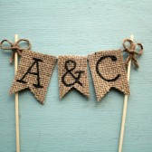 Personalized Cake Topper, Rustic Country Barn Wedding Cake Topper, Rustic Cake Topper, Barn Wedding Cake Topper, Burlap Banner Cake Topper