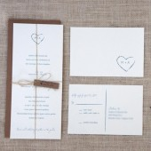 Rustic Heart Monogram Wedding Invitations