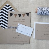 Rustic Wedding Invitations with Bunting