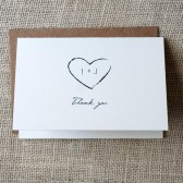 Rustic Heart Monogram Thank You Cards