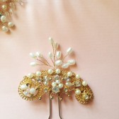 Vintage Art Deco Bridal Hair pin Pearl hair pin Gold wedding