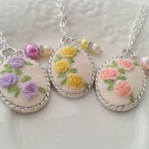 Bridesmaid set of 3 Shabby floral hand embroidered pendant necklaces