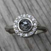 Rose Cut Grey Diamond Halo Twig Engagement Ring