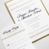 Gold Deco Fringe Wedding Invitation Set