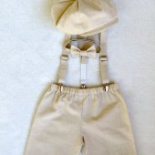 Henry Newsboy Set in Sand colored natural linen/cotton