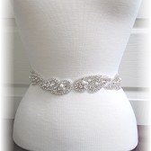 Bridal Sash, Crystal and Pearl Bridal Belt, Wedding Dress Sash, Bridal Belt Custom Colors