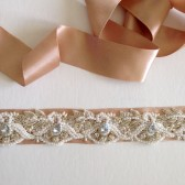 Stunning Hand beaded Pearl and Rhinestone sash handmade weddings bridal sash champagne Blush