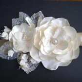 Bridal sash Ivory Satin and Lace flowers Handmade Wedding
