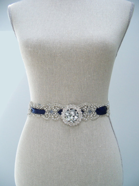 satin blue wedding sash with brooch