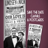 Canvas with Save the Date Postcards!