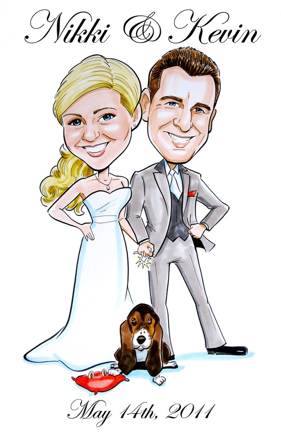 Save the Date Caricature (by Save the Dates by Devin Hunt Illustration via EmmalineBride.com - The Marketplace) #handmade #wedding