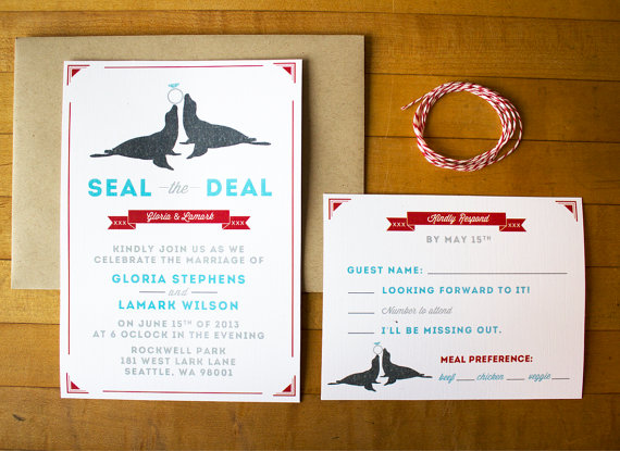 seal the deal wedding invitations